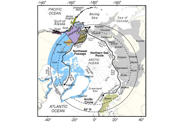 Map of Indigenous communities in the arctic