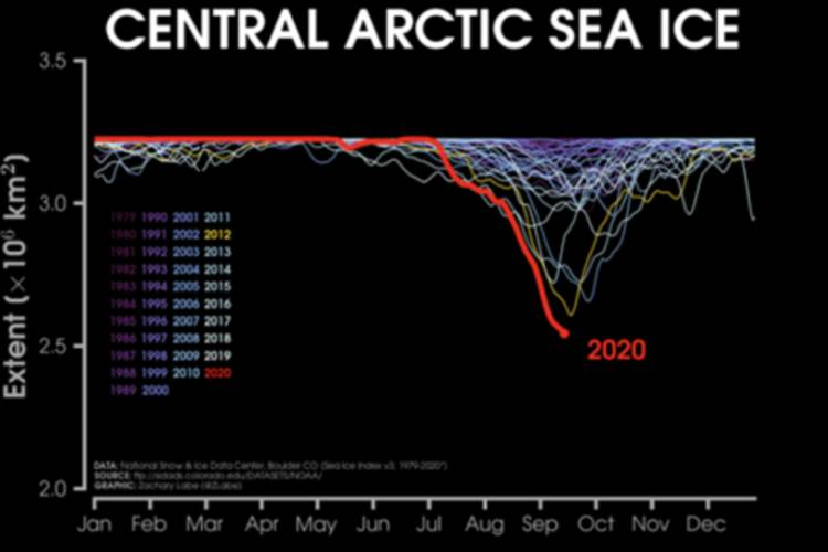 Graph depicting changes to central arctic sea ice