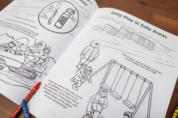 Inside of coloring book sharing safety tips