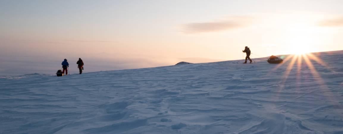 PBI Researchers skiing across Arctic snow at sunrise