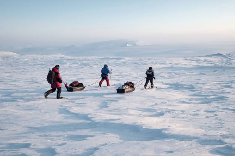 Explorers traveling on ice