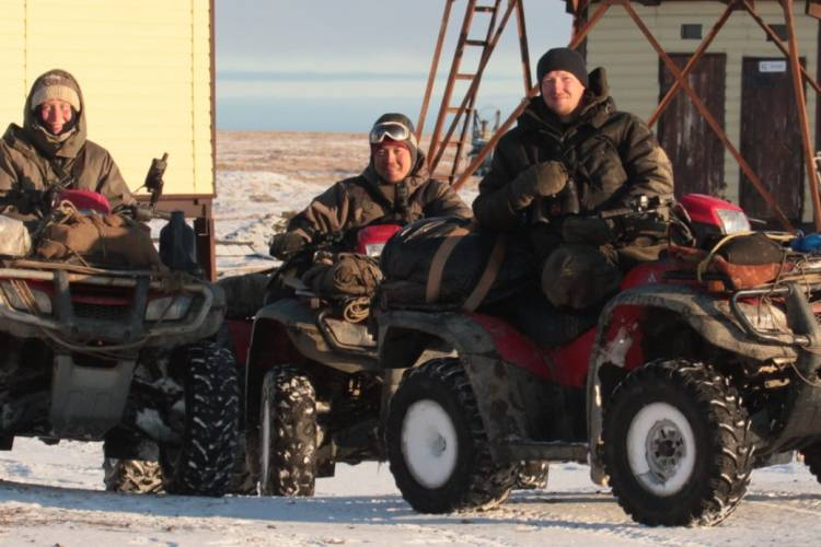The polar bear research team prepares to head out on ATVs.