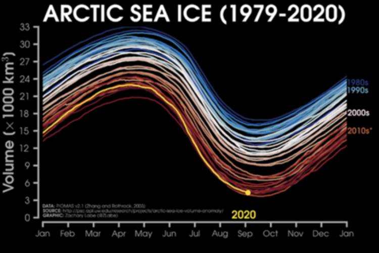 Graph depicting the sea ice level changes between 1979 and 2020