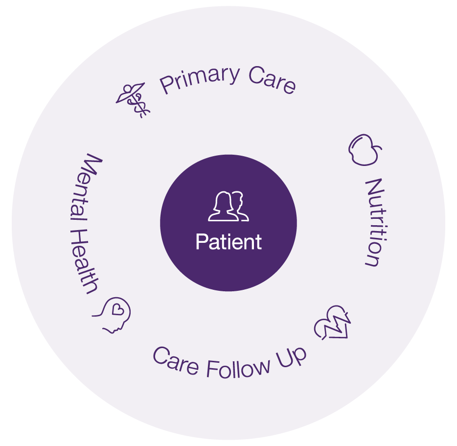 Babylon's full circle of care for patients; Primary Care, Nutrition, Care follow up, Mental Health.