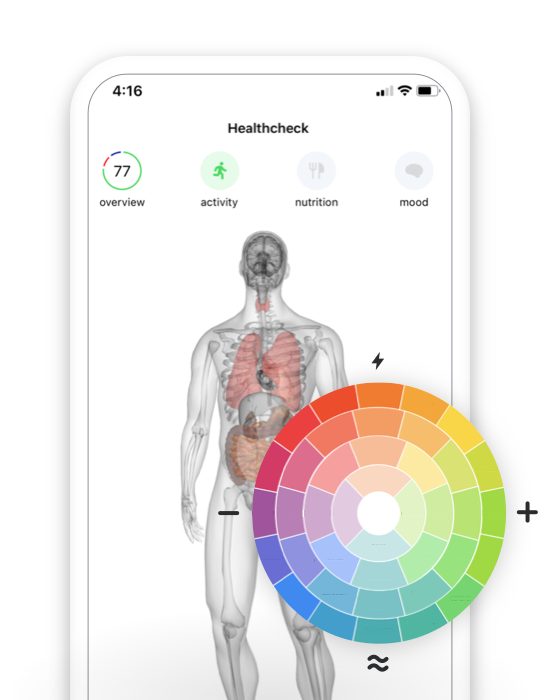 A mobile device with the Healthchecker app opened, showing a preview of the mood ring