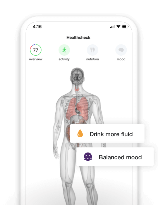 Babylon app visualizing the patient's current body condition.
