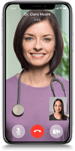 video chatting with a doctor on a mobile device
