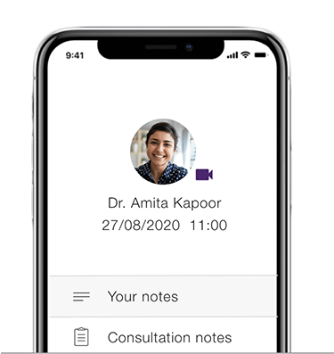 Reference your notes on the app after the in-person appointment.