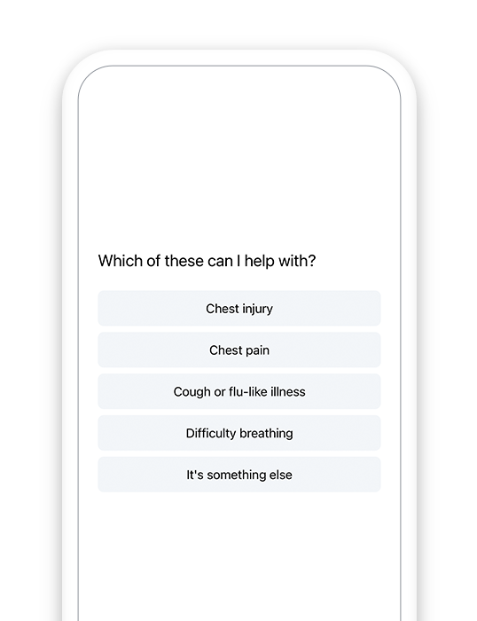 Symptom Checker preview on a mobile device.