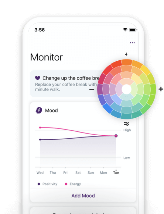 Babylon app visualizing health data with a mood ring.