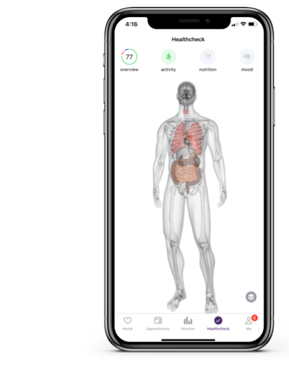The healthcheck feature displayed shows a digital twin, as well as recommendations to improve physical and mental health.