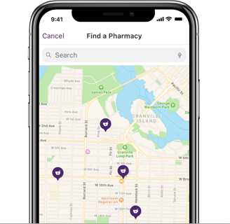 A mobile device with the TELUS Babylon app open, showing on a map where all the pharmacies are nearby.