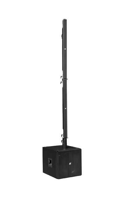 K-array Pinnacle-KR202 self-powered portable stereo system with pure line arrays of two-meters column loudspeakers and a lightweight subwoofer with onboard DSP - front
