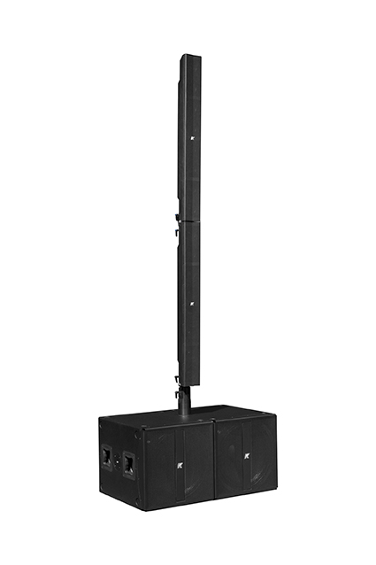 K-array Pinnacle-KR802 large, self-powered portable amplification stereo system with pure line arrays and onboard DSP for long throw and powerful sound.