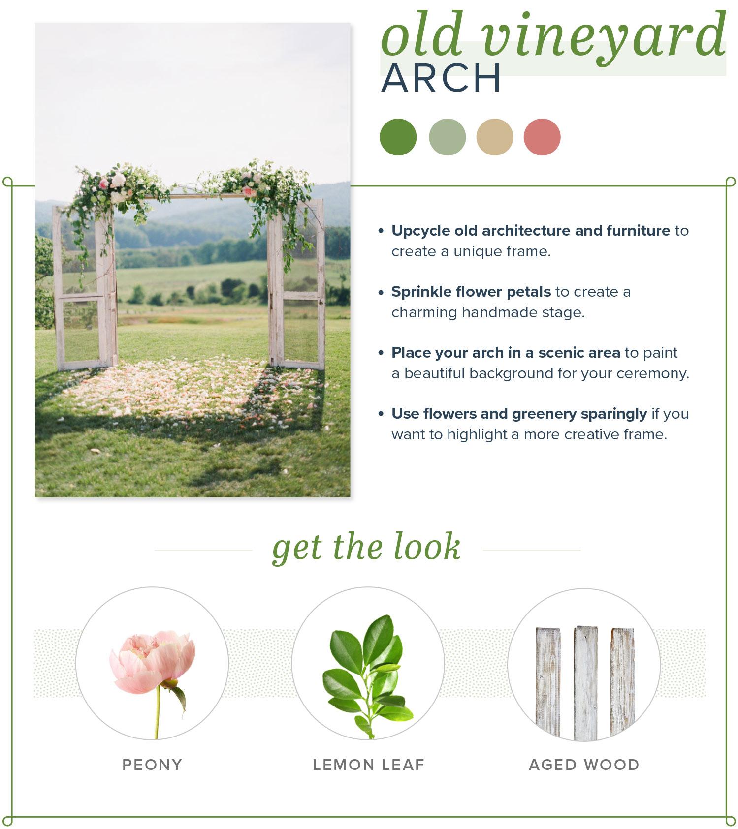 rustic wedding arch old vineyard