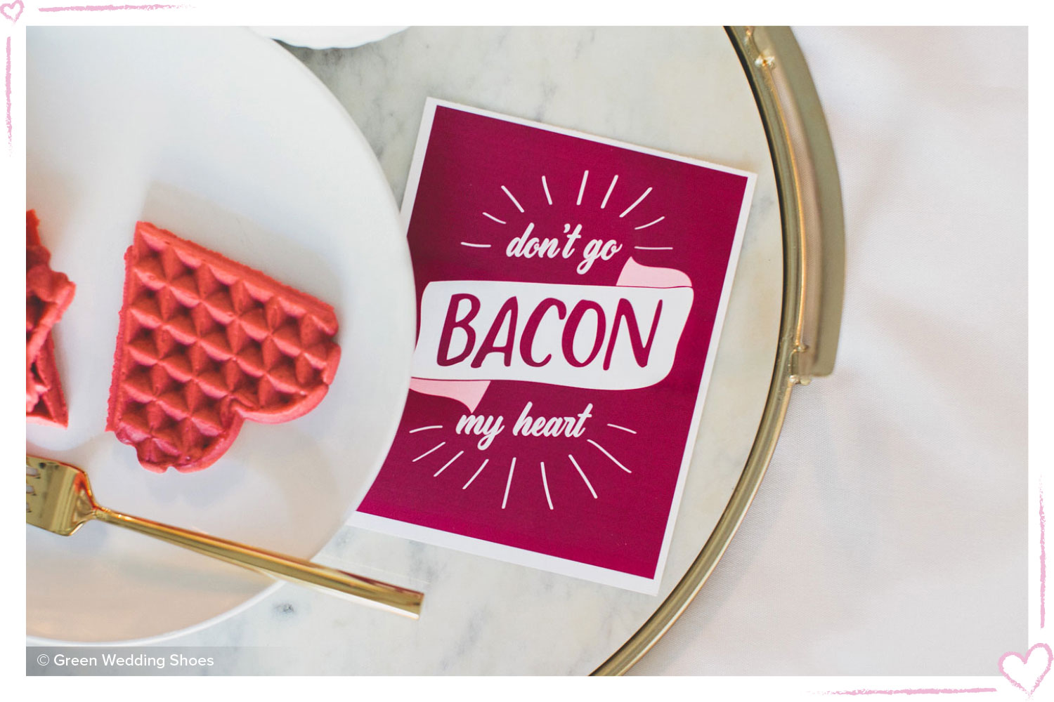 how to surprise your boyfriend punny breakfast card with a heart waffle