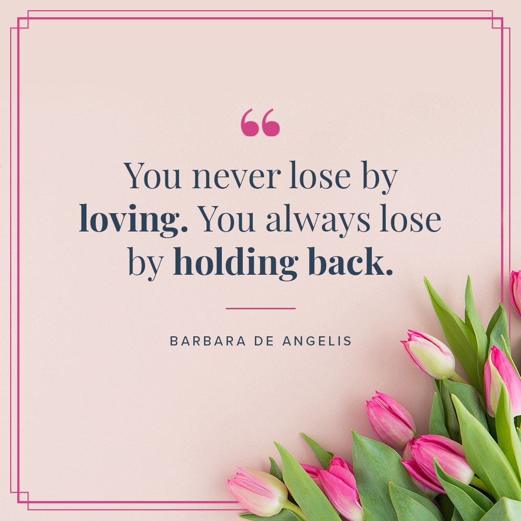 inspirational i love you quote on a pink background
