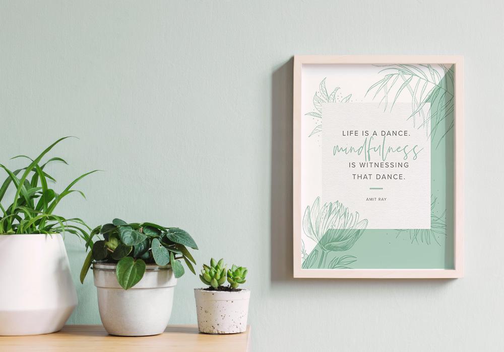 mindfulness power word wall art