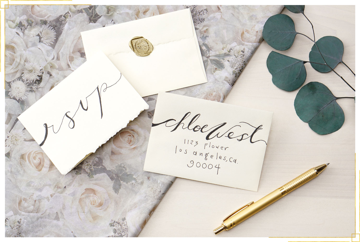 faux calligraphy invitations and RSVP