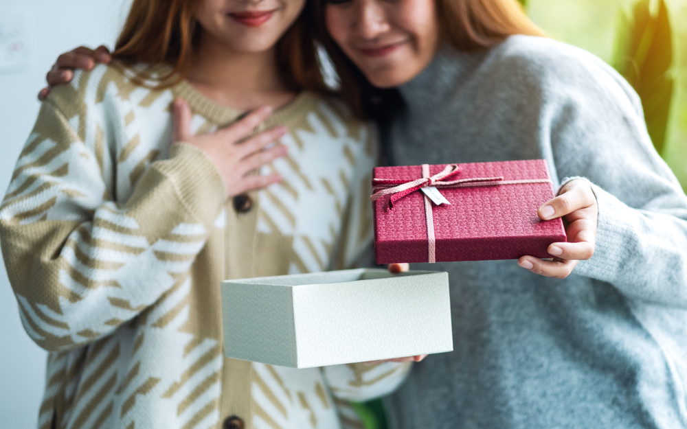 Two Women with Mother's Day gifts