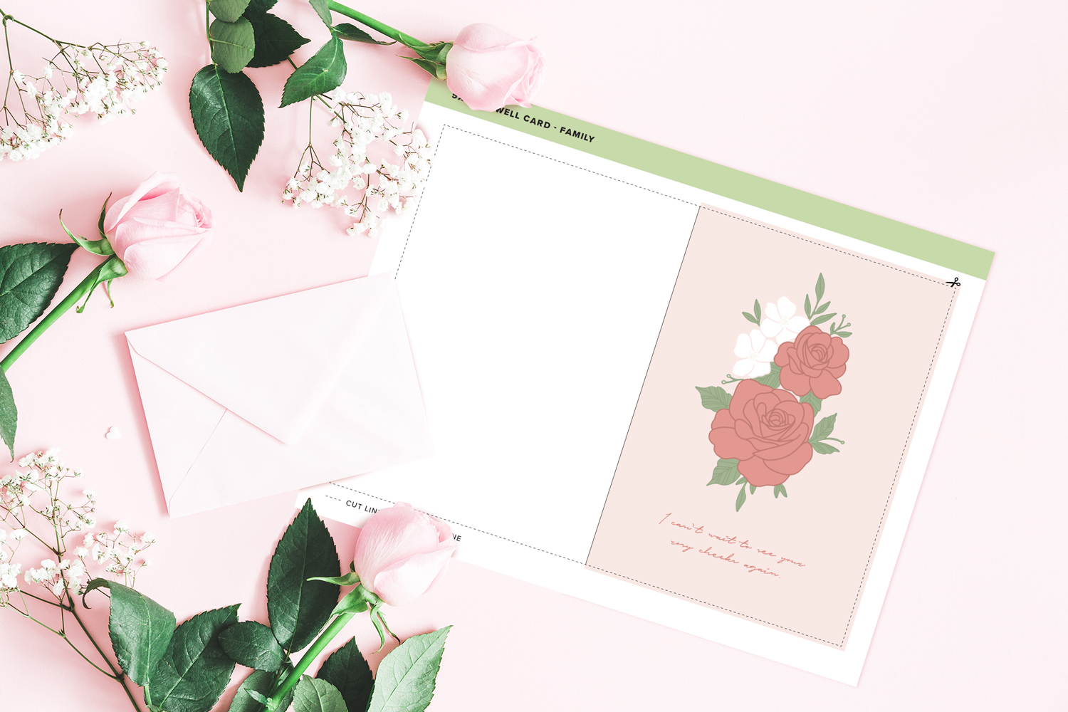 rose themed feel better card printable on pink background with pink roses and envelope