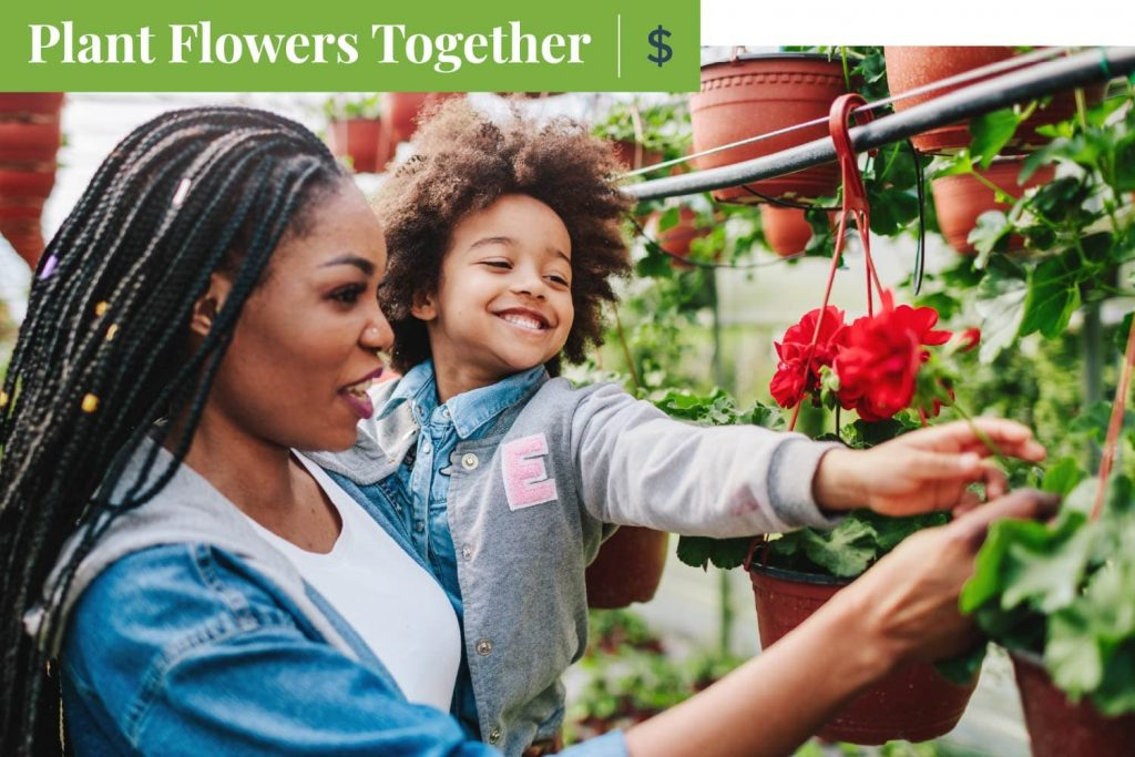 plant flowers together on mother's day