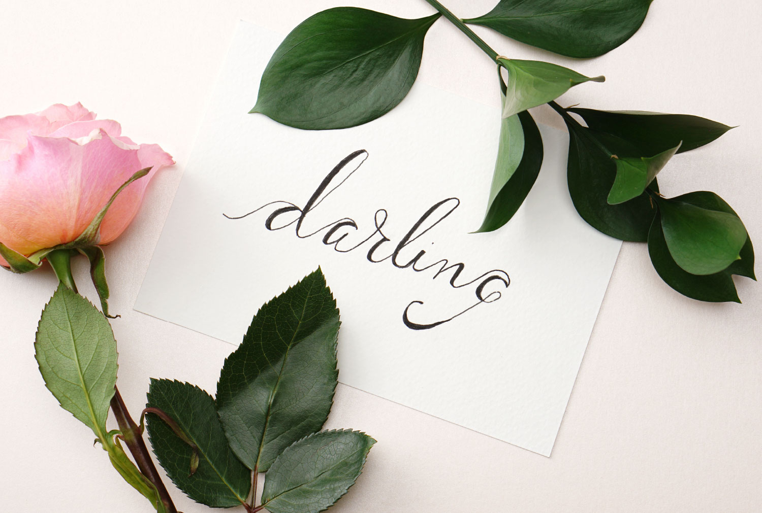 """faux calligraphy """"darling"""" with a rose and a leaf sprig"""