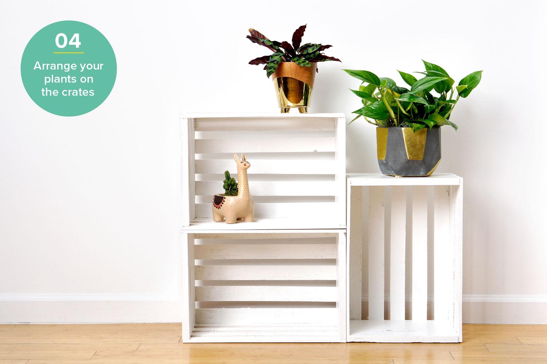 diy plant stand hardware hacks wood crate shelving step 4