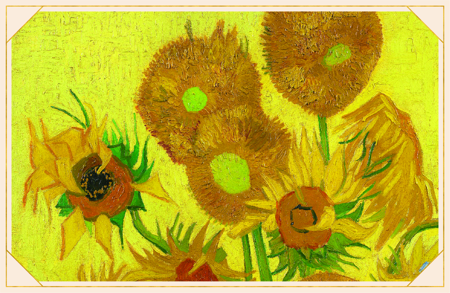 portion of van Gogh's Sunflower painting