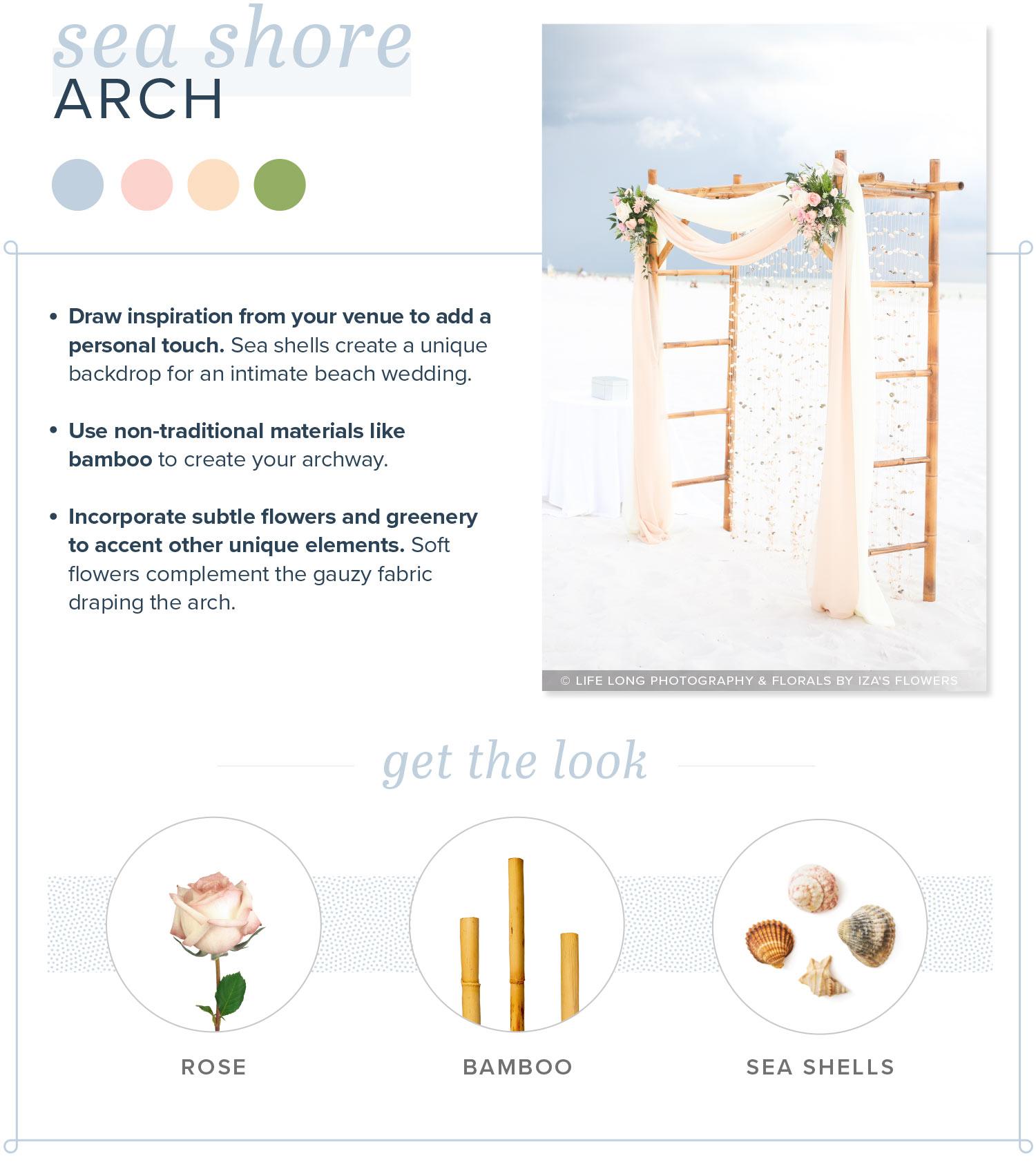 modern wedding arch seashore