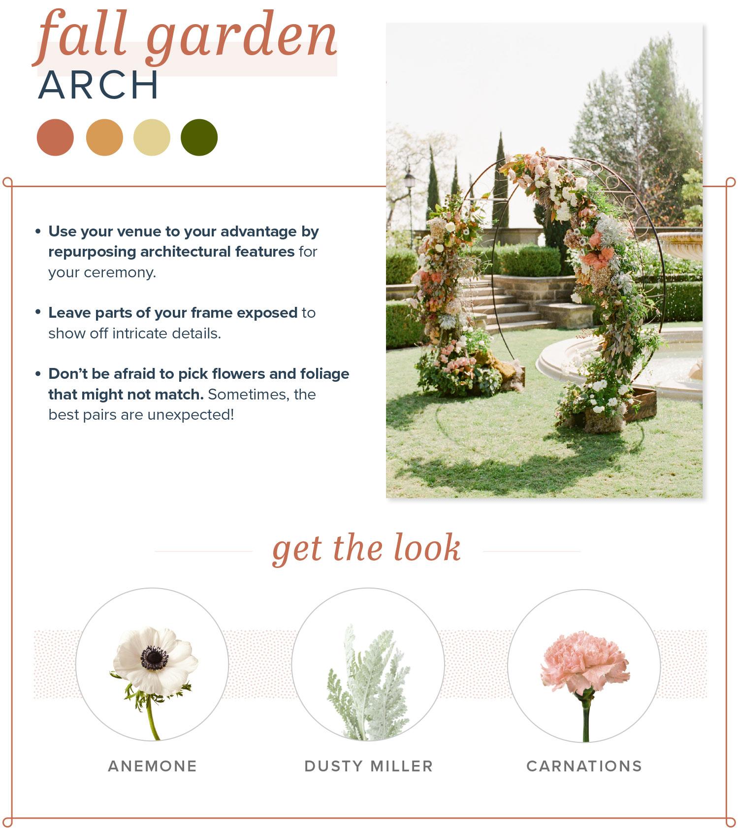 rustic wedding arch fall garden