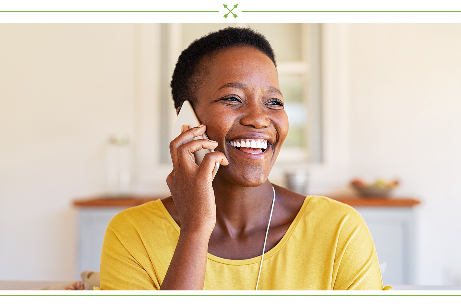 women talking on phone and smiling