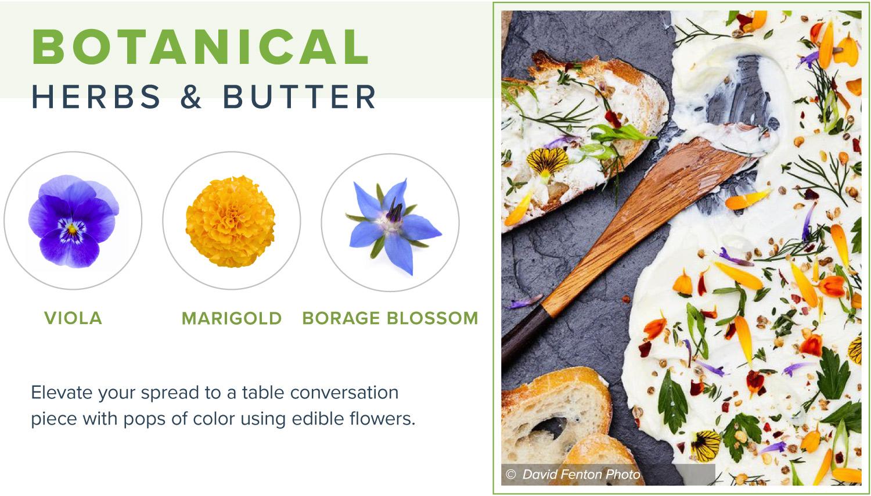 edible flowers botanical butter