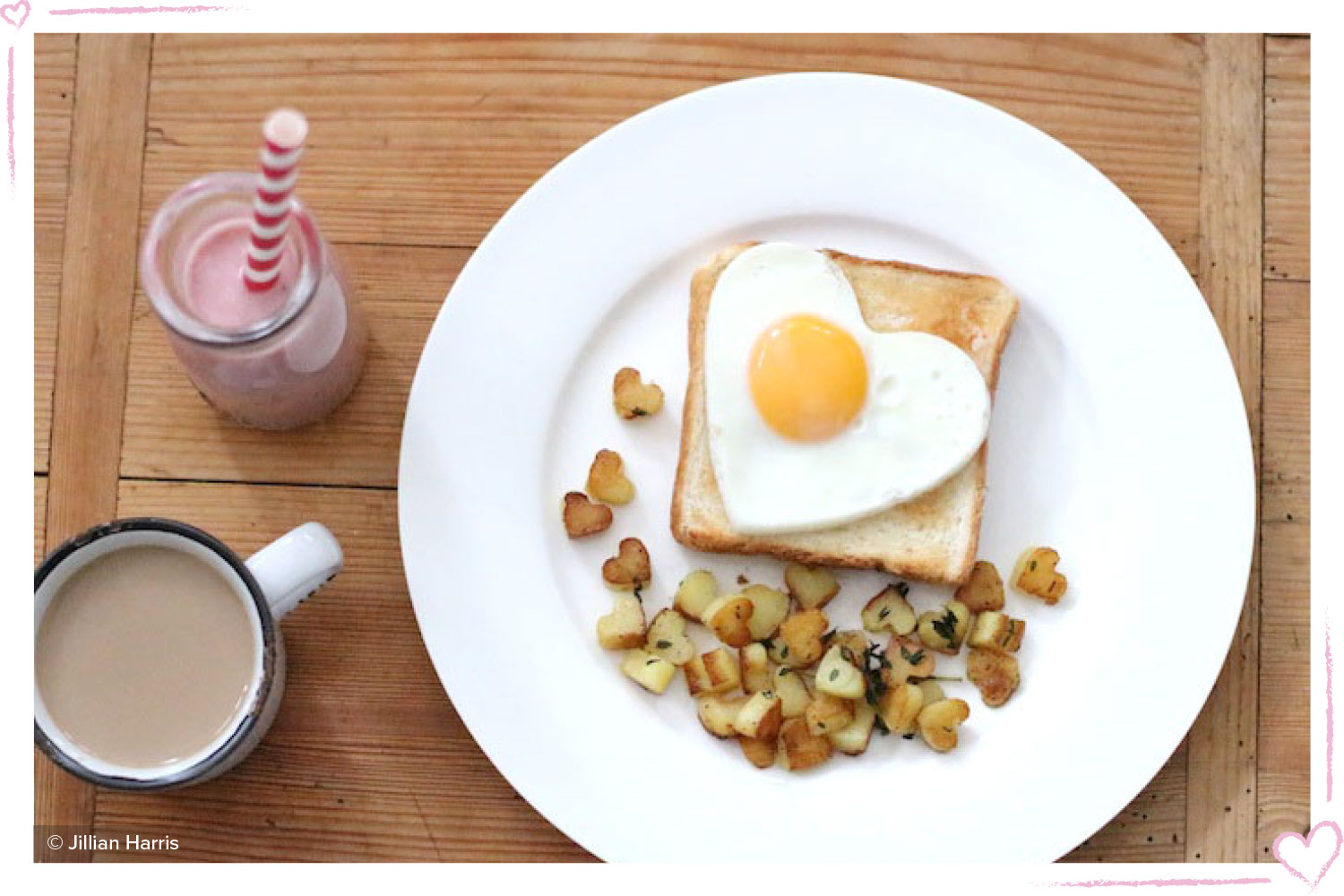 how to surprise your boyfriend toast with a heart shaped egg and potatoes