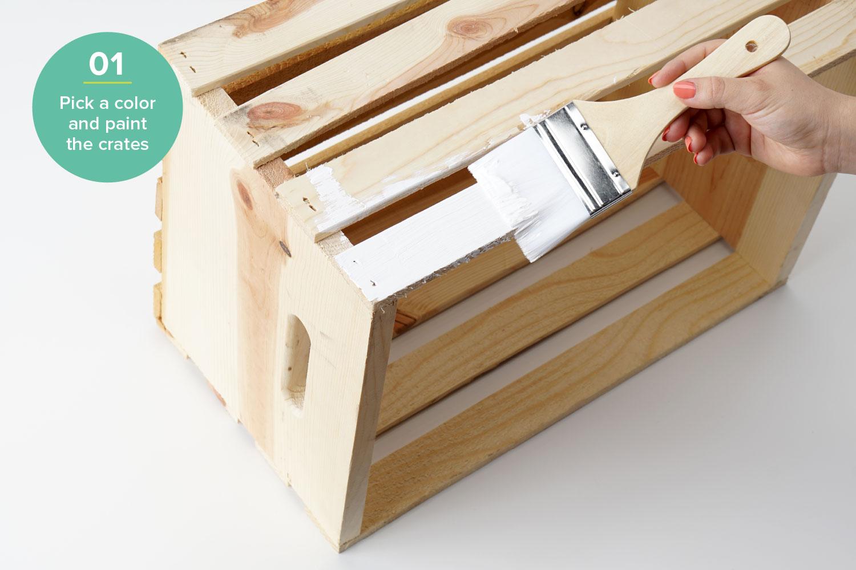 diy plant stand hardware hacks wood crate shelving step 1