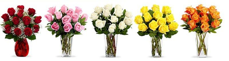 red roses pink white yellow orange bouquets of flowers