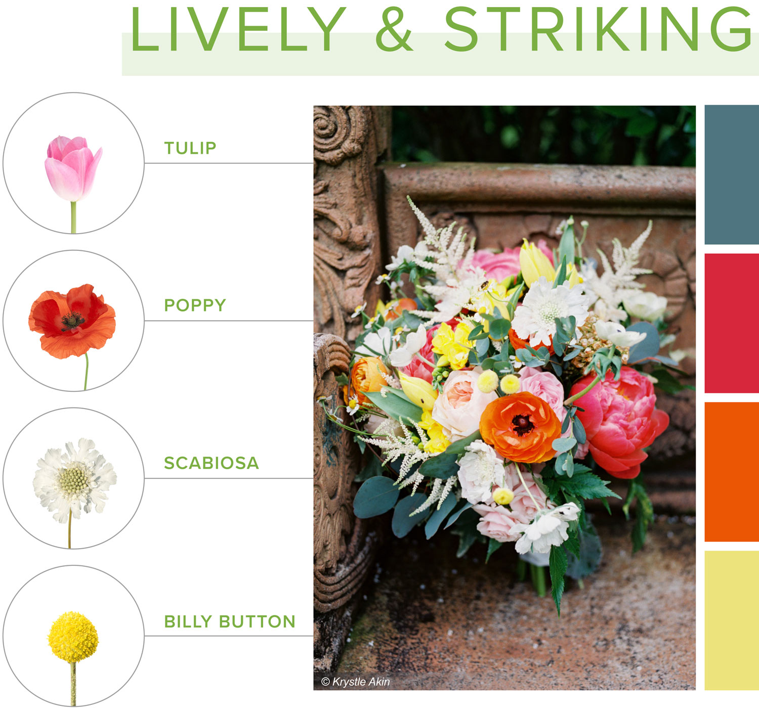 lively and striking bouquet