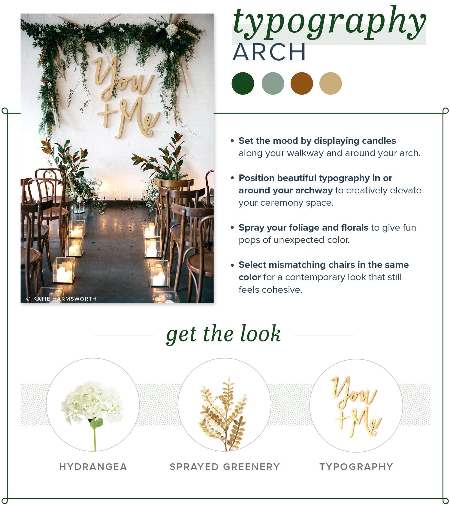 modern wedding arch typography