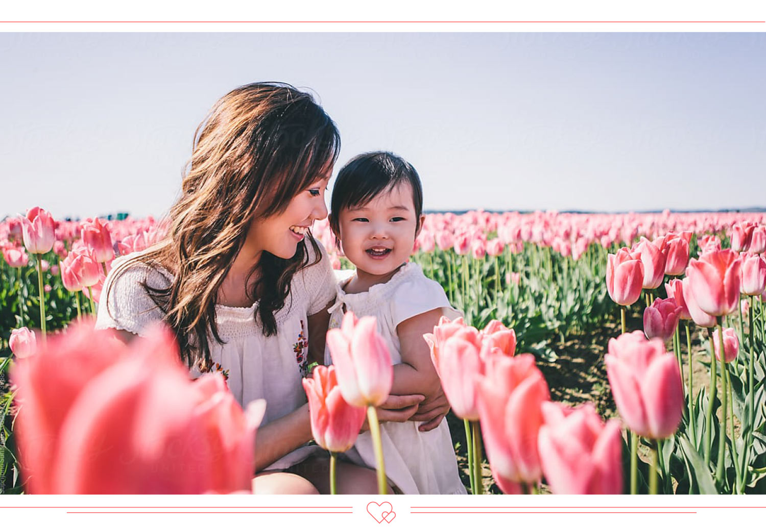 mother daughter quotes mom and daughter in a tulip field together