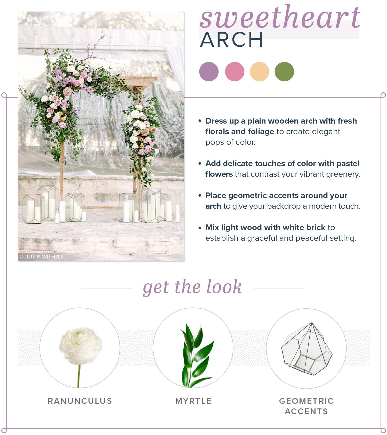 modern wedding arch sweetheart