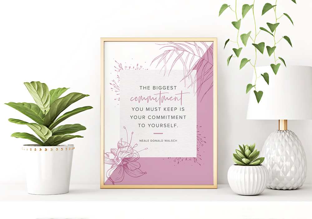 commitment power word wall art