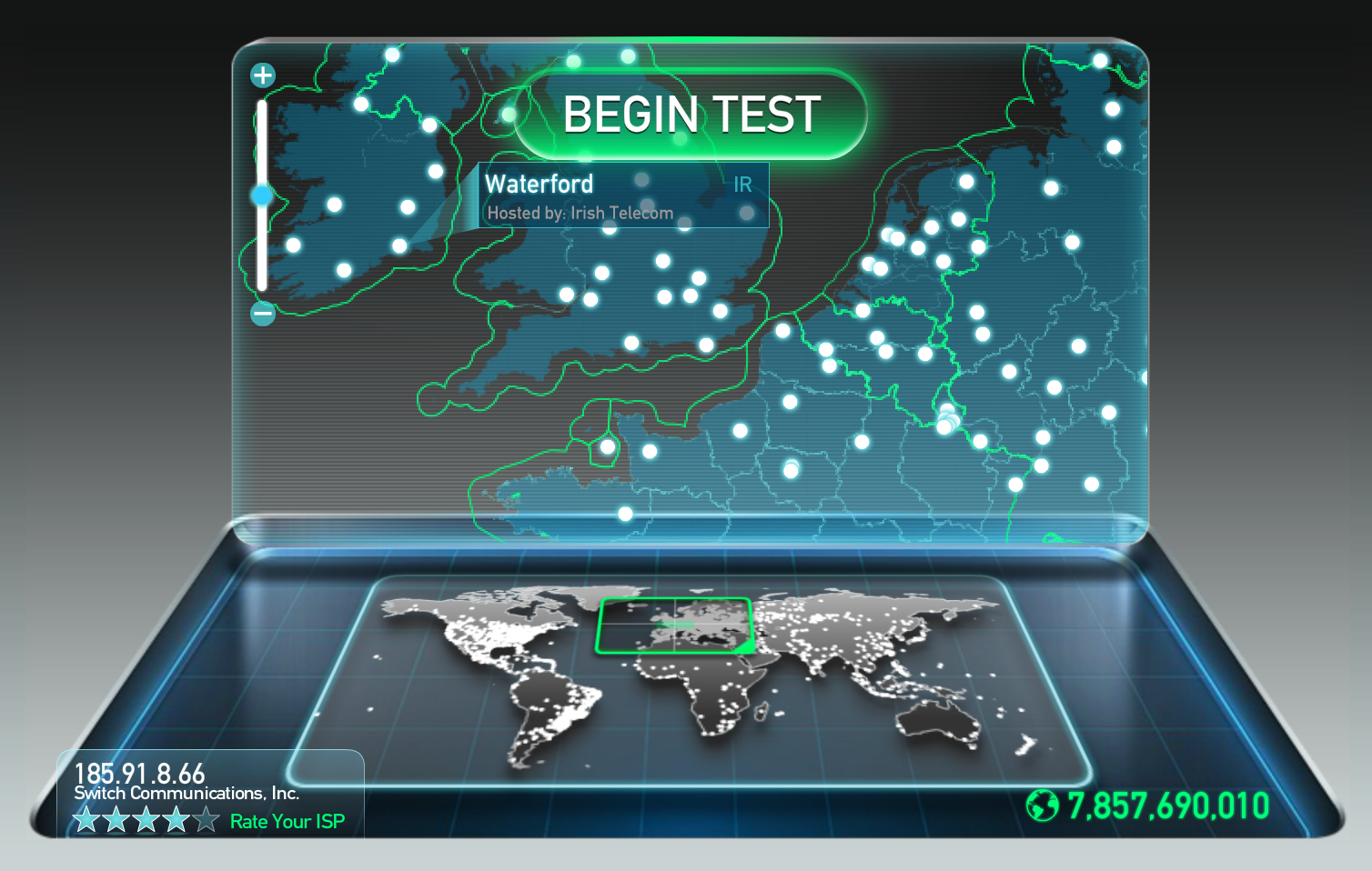 Speedtest.net shows the closest server being in Waterford, Ireland, not San Jose, California, USA
