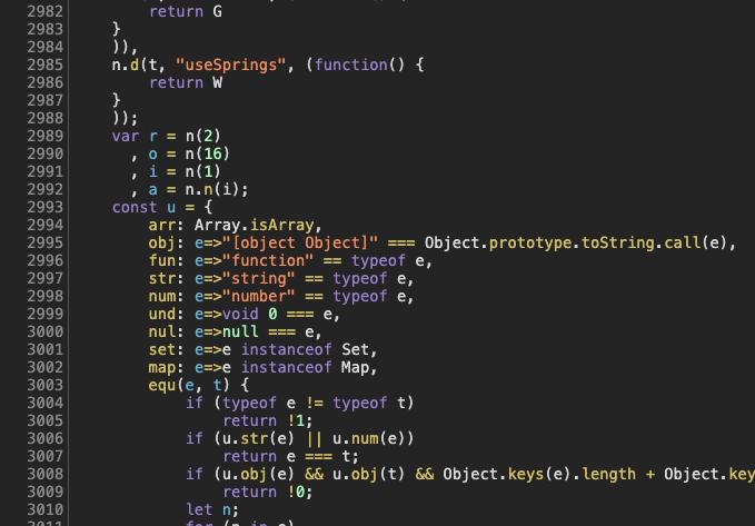 react spring code screenshot