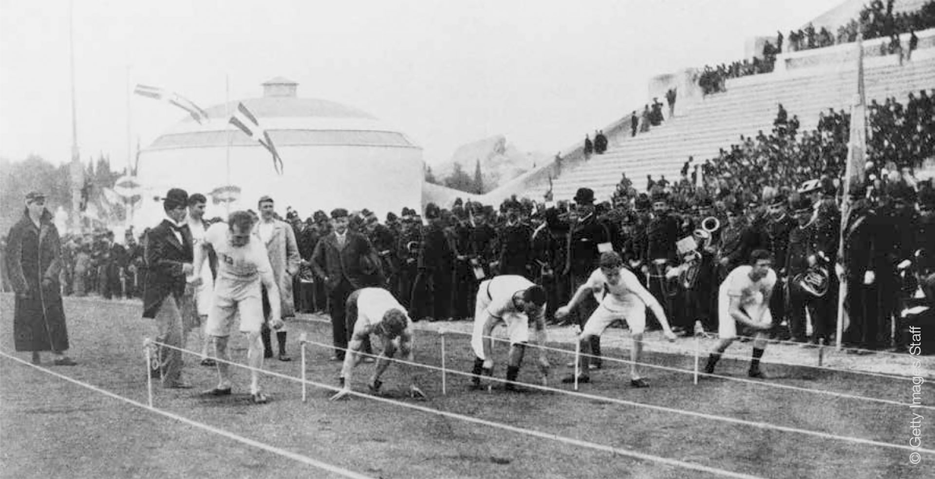 Runners in the 100-meter sprint at the first modern Olympic Games
