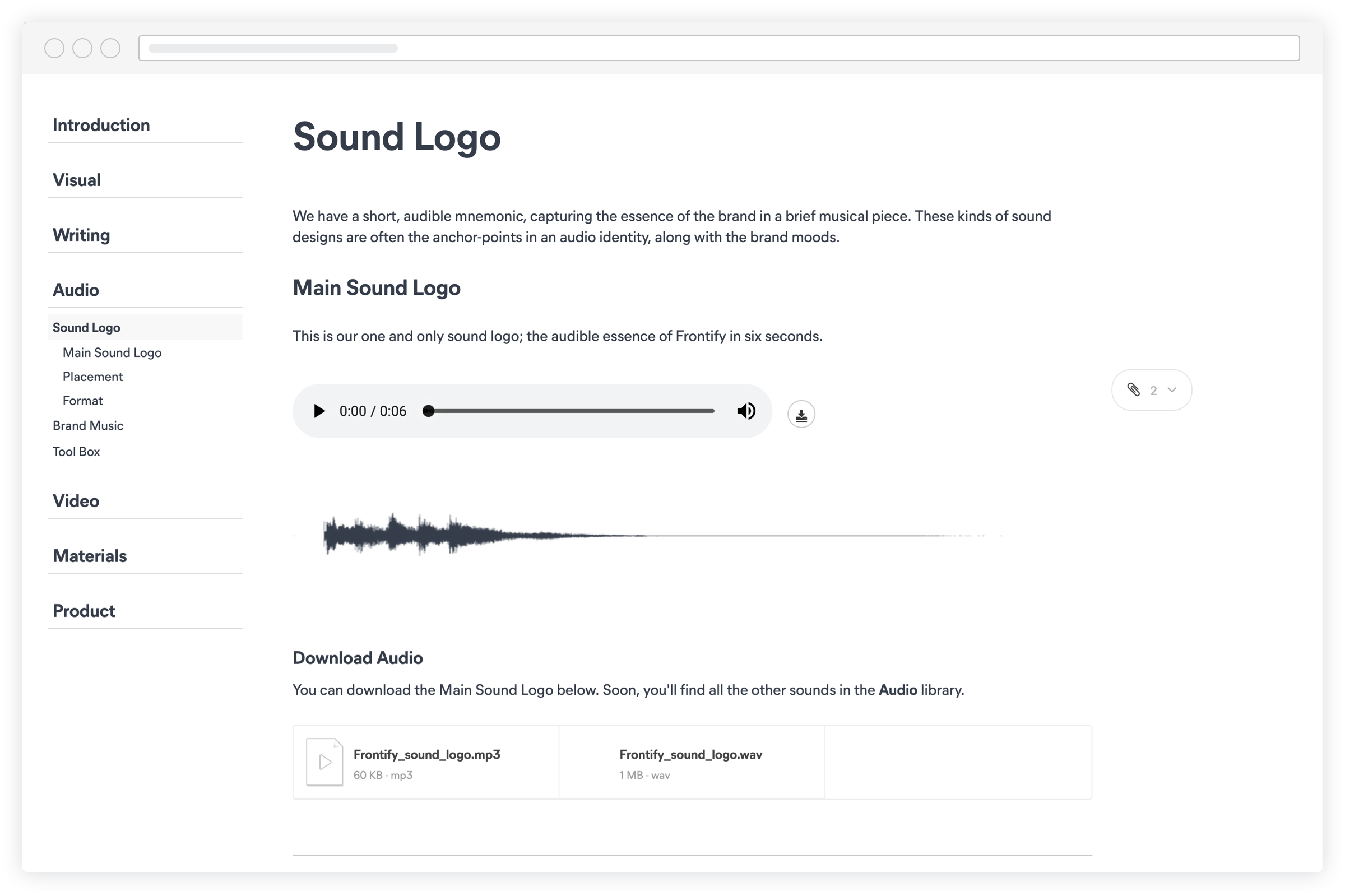 Screenshot frontify audio
