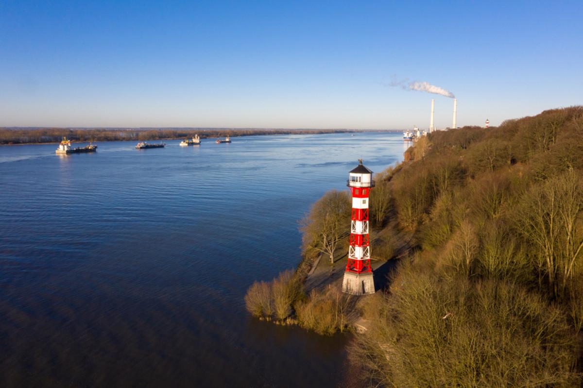 Hamburg Rissen Leuchtturm Elbe,  Quelle:shutterstock