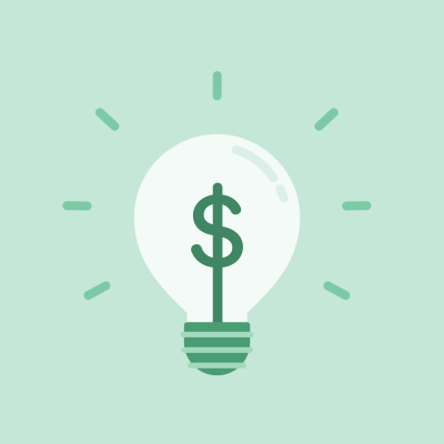 Green dollar sign in lightbulb on green background