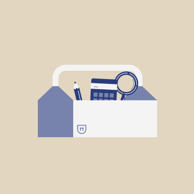 Pencil, calculator, and magnifying glass in toolbox on beige background