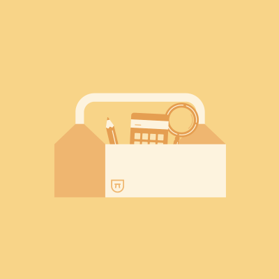 Pencil, calculator, and magnifying glass in toolbox on yellow background