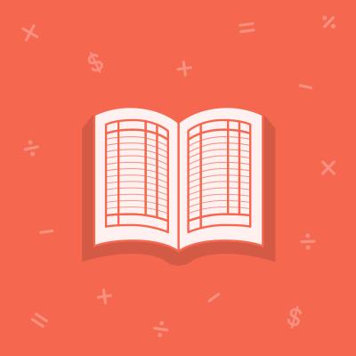 Book on red background with floating math symbols